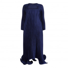Mashiah Pleated Satin Navy Dress - Plus Size Collection