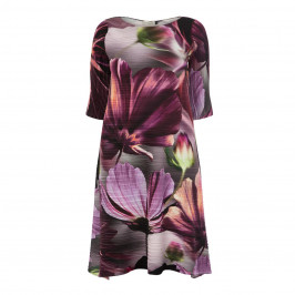 MASHIAH FLORAL PRINT SATIN PLISSE DRESS - Plus Size Collection