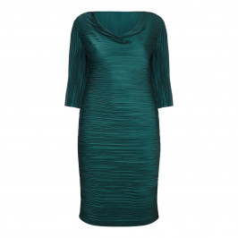 MASHIAH TEAL GREEN COWL NECK WIGGLE DRESS - Plus Size Collection