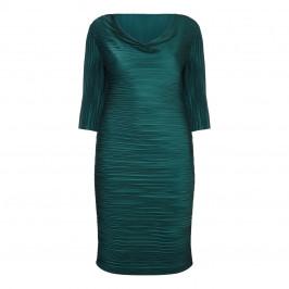 MASHIAH TEAL GREEN COWL NECK WIGGLE DRESS - Plus Size Collection