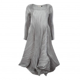 MASHIAH SATIN PLISSE SILVER DRESS - Plus Size Collection
