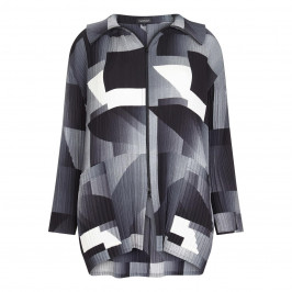 Mashiah Grey Abstract Print Jacket - Plus Size Collection