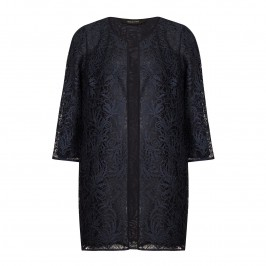 ELENA MIRO NAVY LACE LONG JACKET - Plus Size Collection