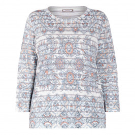 ELENA MIRO PAISLEY PRINT KNITTED TUNIC BLUE  - Plus Size Collection