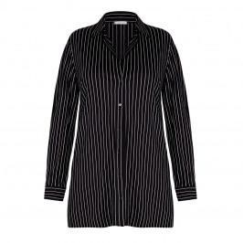 ELENA MIRO LONG PINSTRIPE SHIRT BLACK - Plus Size Collection