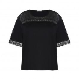 ELENA MIRO LACE INSERT TOP BLACK - Plus Size Collection