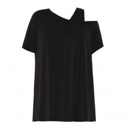 ELENA MIRO ASYMMETRIC COLD SHOULDER TUNIC BLACK - Plus Size Collection