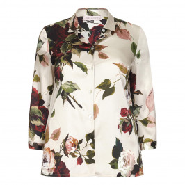 PIERO MORETTI SILK BLEND ROSE PRINT SHIRT - Plus Size Collection