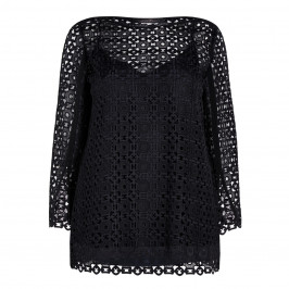MARINA RINALDI CROCHET TUNIC BLACK - Plus Size Collection