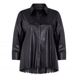 MARINA RINALDI PLEATED BACK FAUX-LEATHER SHIRT - Plus Size Collection