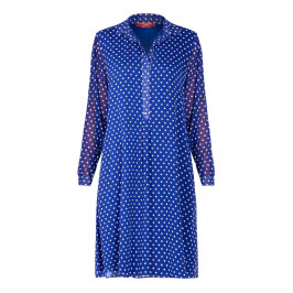 MARINA RINALDI SPOT DRESS BLUE - Plus Size Collection