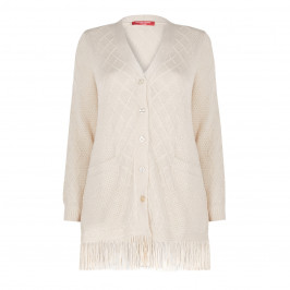 MARINA RINALDI ALPACA BLEND CARDIGAN CREAM - Plus Size Collection