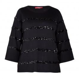 MARINA RINALDI SEQUIN STRIPE SWEATER BLACK - Plus Size Collection