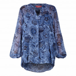 MARINA RINALDI PAISLEY PRINT TUNIC NAVY - Plus Size Collection