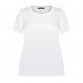 MARINA RINALDI SATIN FRONT T-SHIRT WHITE - Plus Size Collection