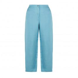 MARINA RINALDI LINEN BLEND TROUSER PALE BLUE - Plus Size Collection