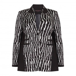 MUREK BLACK LONG JACKET WITH TILE PATTERN - Plus Size Collection
