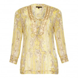 Murek Lemon and gold paisley Kaftan - Plus Size Collection