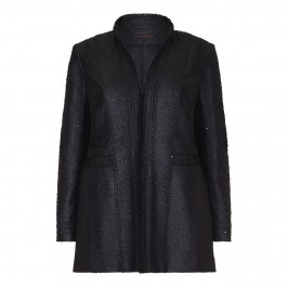 MUREK BLACK SNAKE TEXTURE SEQUINNED LONG JACKET - Plus Size Collection