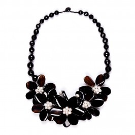 Beige flower design agate NECKLACE - Plus Size Collection
