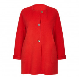 MARINA RINALDI COLLARLESS DOUBLE FACE COAT - Plus Size Collection