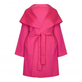 MARINA RINALDI pink DOUBLE FACE HOODED WOOL COAT - Plus Size Collection