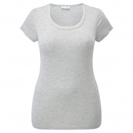 OPEN END GREY MARL EMBELLISHED NECK T-SHIRT - Plus Size Collection