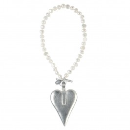 BEIGE SILVER HEART NECKLACE - Plus Size Collection