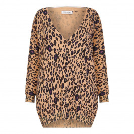 OPEN END ANIMAL PRINT INTARSIA CARDIGAN - Plus Size Collection