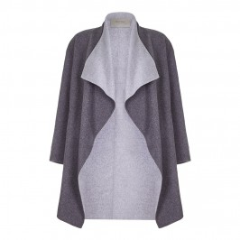 OPEN END TWO TONES GREY COAT - Plus Size Collection