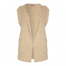 OPEN END CAMEL BOUCLÉ HOODED GILET - Plus Size Collection