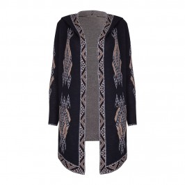 OPEN END Ikat intarsia hooded CARDIGAN - Plus Size Collection