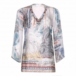 OPEN END pure silk KAFTAN with beaded neckline - Plus Size Collection