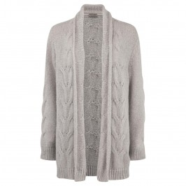 OPEN END POWDER PINK CABLE KNIT LONG CARDIGAN - Plus Size Collection