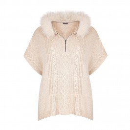 OPEN END oatmeal fur trim hooded knit PONCHO - Plus Size Collection