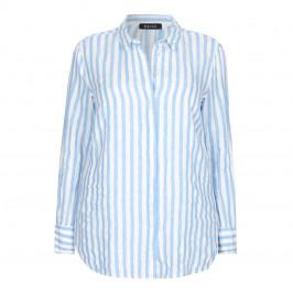 BEIGE LABEL PURE LINEN blue STRIPED SHIRT  - Plus Size Collection