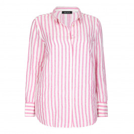 BEIGE LABEL PURE LINEN PINK  STRIPED SHIRT - Plus Size Collection