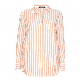 BEIGE LABEL PURE LINEN ORANGE STRIPED SHIRT - Plus Size Collection