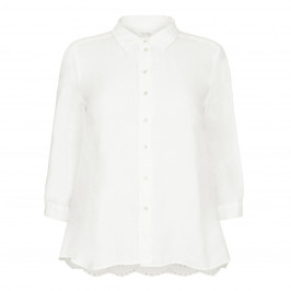 OPEN END white linen SHIRT - Plus Size Collection