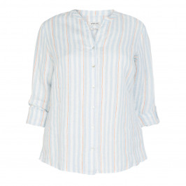 OPEN END PURE LINEN PALE BLUE STRIPE SHIRT - Plus Size Collection