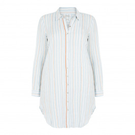 OPEN END LONG PALE BLUE STRIPE SHIRT - Plus Size Collection