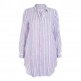 OPEN END LONG VIOLET STRIPE SHIRT - Plus Size Collection