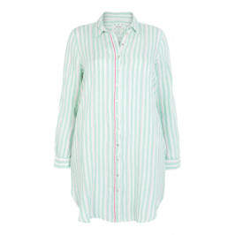 OPEN END LONG MINT STRIPE SHIRT - Plus Size Collection