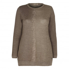 OPEN END TAUPE LUREX embellished SWEATER
