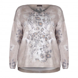 OPEN END TRUFFLE ANIMAL PRINT SWEATER WITH V-NECK  - Plus Size Collection