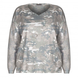 OPEN END CAMOUFLAGE PRINT STAR STUD SWEATER - Plus Size Collection