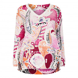 OPEN END FINE KNIT PAISLEY PRINT SWEATER - Plus Size Collection