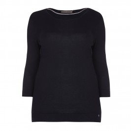 OPEN END zip detail black SWEATER - Plus Size Collection