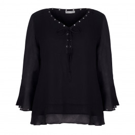 OPEN END BLACK V-NECK CHIFFON TOP WITH EYELET DETAIL  - Plus Size Collection