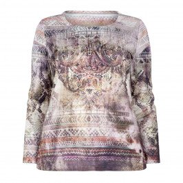 OPEN END BAROQUE PRINT TOP WITH SOFT COLOURS - Plus Size Collection